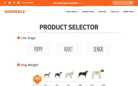 Screenshot of Products Page dogswell.com - Find the Right Food for Your Dog | Dogswell Product Selector - captured Oct. 29, 2014