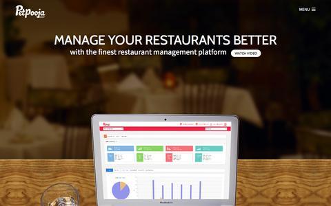 Screenshot of Home Page petpooja.com - Petpooja - The Finest Restaurant Management Platform - captured Jan. 23, 2015