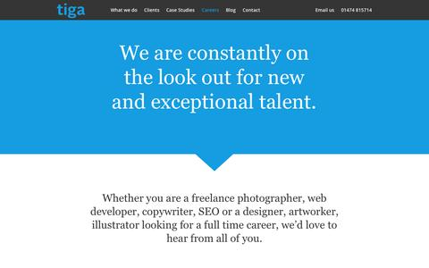 Screenshot of Jobs Page tigauk.com - Tiga are interested in hearing from designers, web developers and digital marketers. - Tiga Creative Marketing - captured Oct. 26, 2014