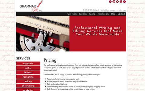 Screenshot of Pricing Page grammarchic.net - Grammar Chic Inc  » Pricing - captured Oct. 3, 2014