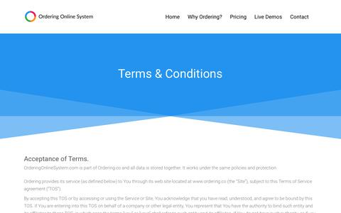 Screenshot of Terms Page orderingonlinesystem.com - Ordering Online System - Terms and conditions, everything safe & sound. - captured June 23, 2018