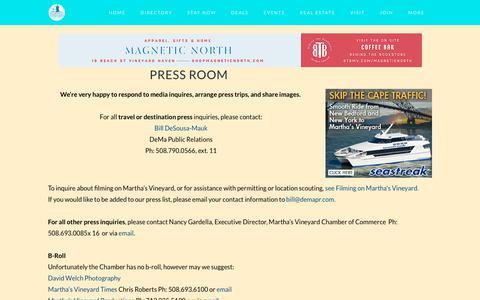 Screenshot of Press Page mvy.com - Press Room - Martha's Vineyard Chamber of Commerce - captured Sept. 22, 2018