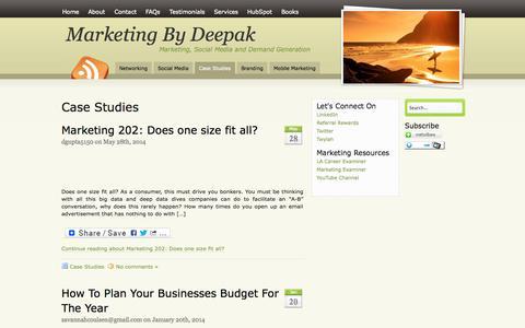 Screenshot of Case Studies Page marketingbydeepak.com - Deepak Gupta Demand Generation   Deepak Gupta Marketing - captured Oct. 4, 2014