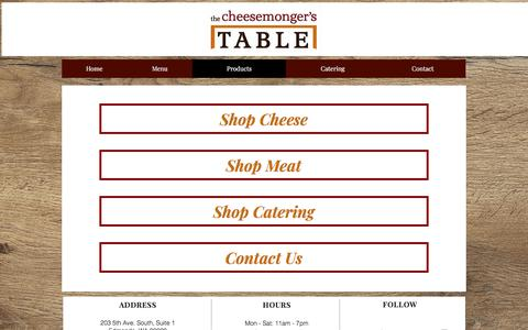 Screenshot of Products Page cheesemongerstable.com - cheesemonger | Products - captured Nov. 17, 2017