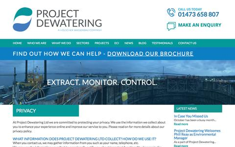 Screenshot of Privacy Page project-dewatering.co.uk - Project Dewatering - Privacy - captured Nov. 14, 2016