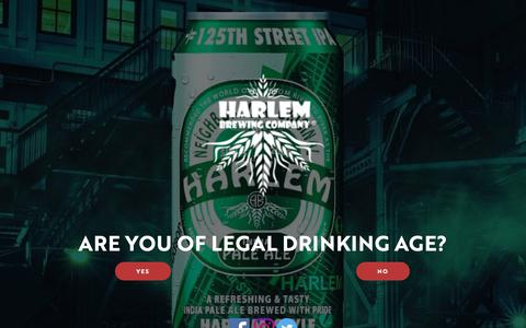 Screenshot of Home Page harlembrewing.com - Welcome Page - Harlem Brewing Company - captured Sept. 27, 2018