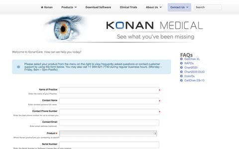 Screenshot of Support Page konanmedical.com - Support » Konan Medical - captured Oct. 2, 2014
