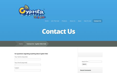 Screenshot of Contact Page cypherkidsclub.com - Contact Us - Cypher Kids Club - captured Oct. 22, 2014