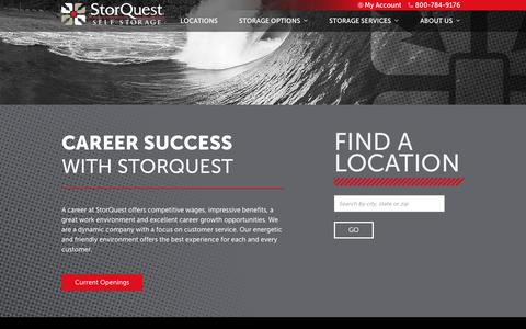 Screenshot of Jobs Page storquest.com - Careers at StorQuest Self Storage - captured Feb. 16, 2016