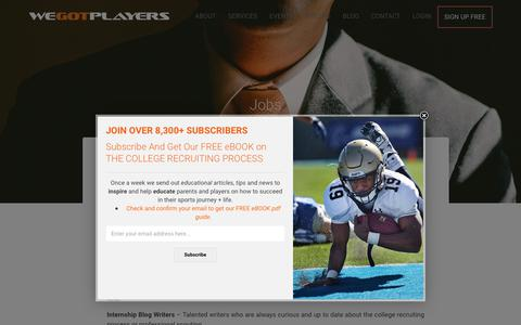 Screenshot of Jobs Page wegotplayers.com - Jobs | WeGotPlayers - captured June 12, 2017