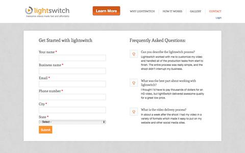 Screenshot of Contact Page lightswitch.com - Get Started with Lightswitch | LightSwitch - captured Sept. 13, 2014