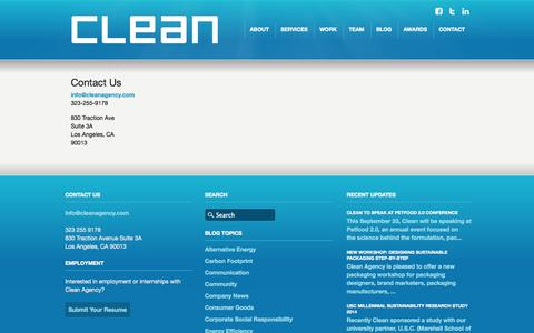 Screenshot of Contact Page cleanagency.com - Clean Agency Sustainability Consulting - Contact - captured Oct. 28, 2014