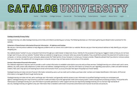 Screenshot of Privacy Page cataloguniversity.com - Privacy Policy - Catalog UniversityCatalog University - captured Oct. 29, 2014