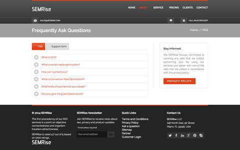 Screenshot of FAQ Page semrise.com - Ask a question to SEMRise - captured Sept. 30, 2014