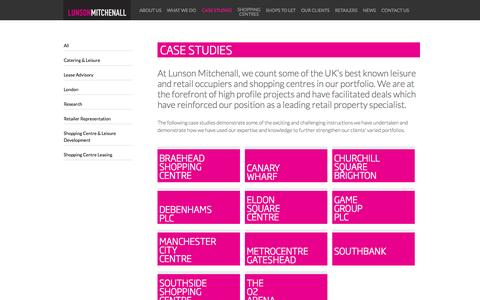 Screenshot of Case Studies Page lunson-mitchenall.co.uk - 30 years experience in the retail and leisure industry | Lunson Mitchenall - captured Sept. 30, 2014