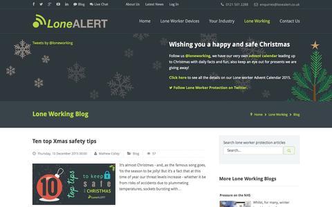 Screenshot of Blog lonealert.co.uk - Lone working blog from LoneALERT - captured Dec. 13, 2015