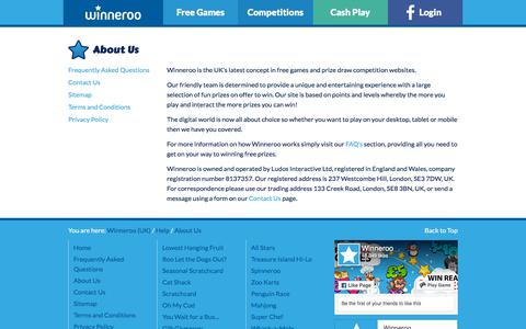 Screenshot of About Page winneroo.co.uk - About Us - Winneroo - captured Sept. 20, 2018