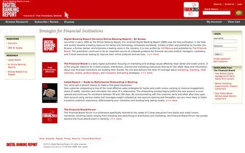 Screenshot of Login Page onlinebankingreport.com - Online Banking Report is now Digital Banking Report. - captured Oct. 31, 2014