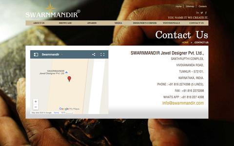 Screenshot of Contact Page swarnmandir.com - Swarnmandir | Contact - captured Nov. 18, 2016