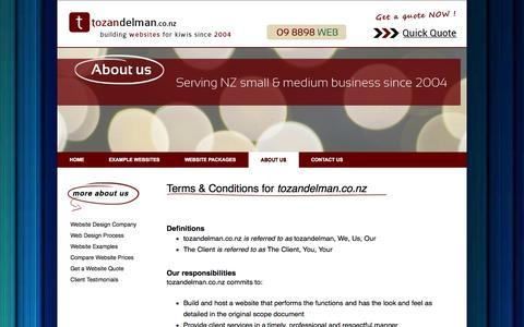 Screenshot of Terms Page tozandelman.co.nz - web designer auckland, website design NZ, make a web site, webpage design | tozandelman.co.nz - captured Oct. 1, 2014