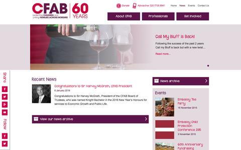 Screenshot of Press Page cfab.org.uk - CFAB News - captured Jan. 27, 2016