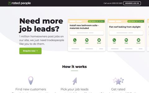 Screenshot of Signup Page ratedpeople.com - Sign Up to Rated People – Access 75000+ Job Leads a Month - captured Sept. 11, 2019