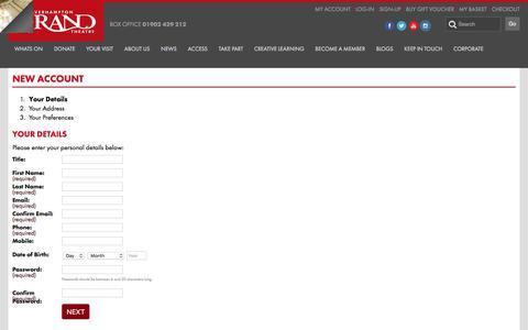 Screenshot of Signup Page grandtheatre.co.uk captured Dec. 2, 2016