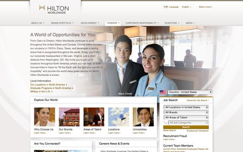 Screenshot of Jobs Page hiltonworldwide.com - Hilton Worldwide Careers - Search and Apply for Jobs - captured Sept. 18, 2014