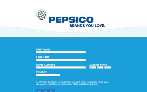 Screenshot of Landing Page pepsico.com captured Aug. 17, 2016
