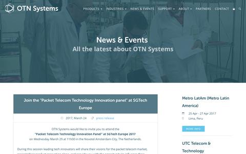 Screenshot of Press Page otnsystems.com - News · OTN Systems - captured April 7, 2017