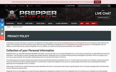 Screenshot of Privacy Page preppergunshop.com - Privacy Policy | Prepper Gun Shop - captured Sept. 5, 2016