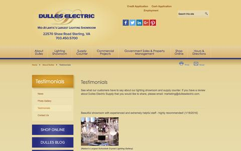 Screenshot of Testimonials Page dulleselectric.com - Customer Reviews | Dulles Electric - captured Feb. 9, 2016