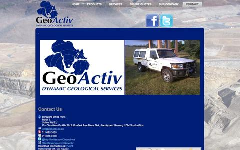 Screenshot of Contact Page Maps & Directions Page geoactiv.co.za - Contact - captured Oct. 27, 2014