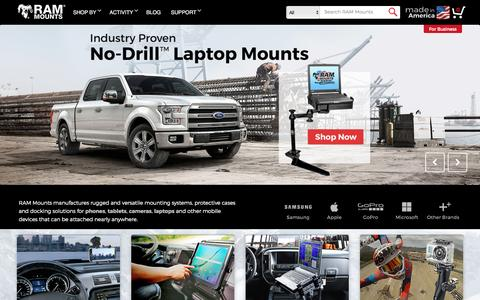 Screenshot of Home Page rammount.com - RAM Mounts - Mobile Mounting Solutions for Phones, Tablets, Laptops, Camera & more - captured Aug. 24, 2016