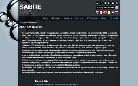 Screenshot of About Page sabreh2s.com - About Sabre Safety - Sabre Safety Sabre Safety - captured Nov. 2, 2014