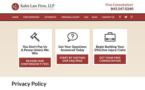 Screenshot of Privacy Page kahnlawfirm.com - Privacy Policy | Kahn Law Firm, LLC - captured Oct. 14, 2018