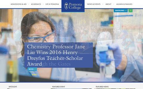 Screenshot of Home Page pomona.edu - Pomona College in Claremont, California - Pomona College - captured Aug. 23, 2016