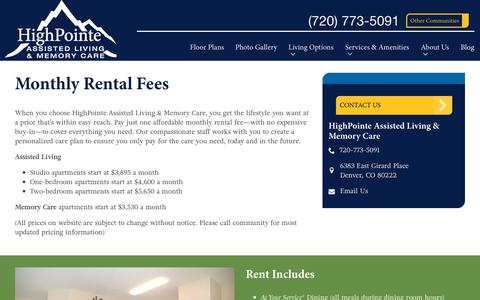 Screenshot of Pricing Page spectrumretirement.com - Monthly Rental Pricing | HighPointe Assisted Living & Memory Care - captured Oct. 23, 2018