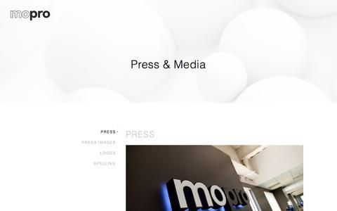 Screenshot of Press Page mopro.com - Press - Mopro - captured Feb. 19, 2020