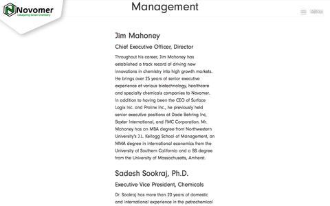 Screenshot of Team Page novomer.com - Team | Novomer - captured July 12, 2018