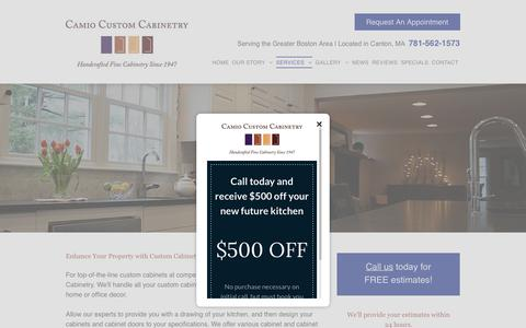 Screenshot of Services Page camiocabinetry.com - Custom Cabinetry | Book Shelves | Canton, MA - captured Sept. 26, 2018