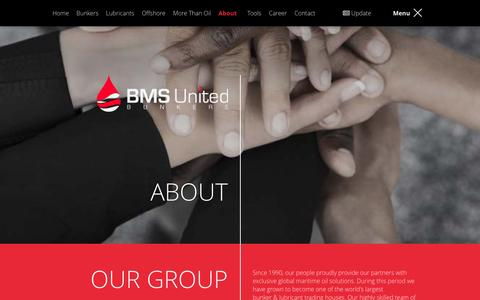 Screenshot of About Page bmsunited.com - About BMS United Bunkering - captured Jan. 22, 2016