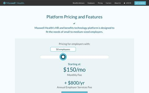 Screenshot of Pricing Page maxwellhealth.com - Pricing - Maxwell Health: Benefits Administration and HR made simple | Maxwell Health - captured Sept. 27, 2017