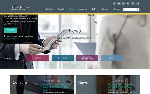 Screenshot of Press Page forsters.co.uk - News | Forsters LLP | Leading Mayfair law firm - captured Aug. 20, 2018