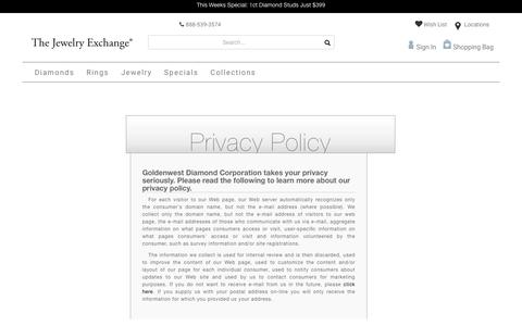 Screenshot of Privacy Page jewelryexchange.com - Privacy Policy - captured Aug. 1, 2018