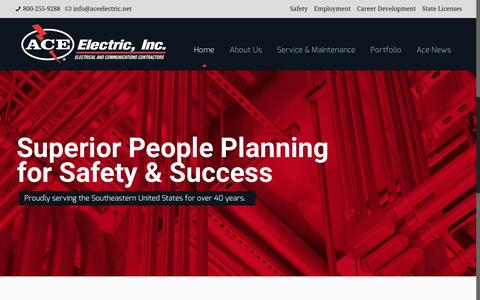 Screenshot of Home Page aceelectric.net - Home-Ace Electric - captured Feb. 5, 2016