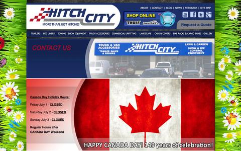 Screenshot of Contact Page hitchcity.com - Truck Accessory & Outdoor Equipment Experts   Greater Toronto Area & Barrie   Hitch City - captured July 15, 2016