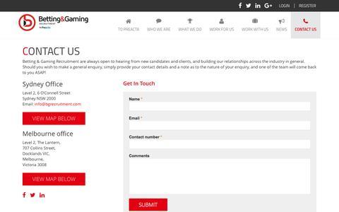 Screenshot of Contact Page bgrecruitment.com - Contact Us | Betting Gaming Recruitment - captured Nov. 22, 2016