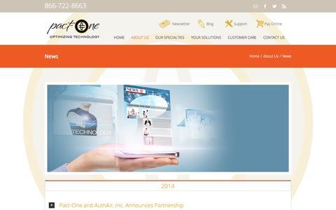 Screenshot of Press Page pact-one.com - Pact-One   –  News - captured Nov. 1, 2014