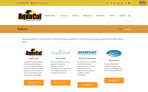 Screenshot of Products Page aquacal.com - All Products | AquaCal | Swimming Pool heaters | Maintenance - captured Sept. 1, 2016